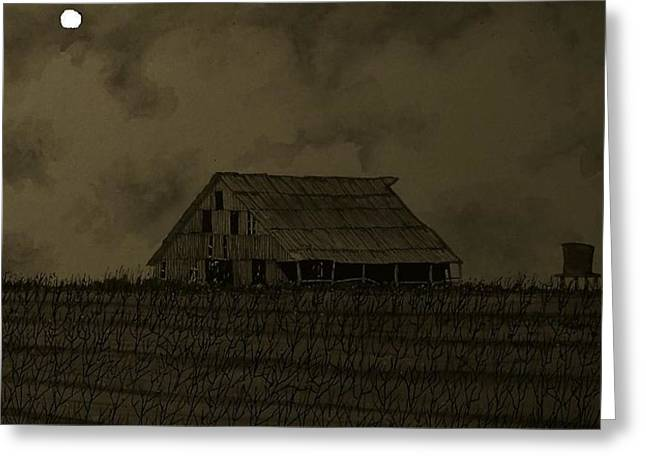 Harvest Moon Mixed Media Greeting Cards - Midnight harvest Greeting Card by Don Cook