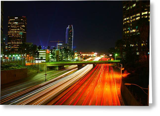 Staples Center Greeting Cards - Midnight In Los Angeles Greeting Card by Tom Dupee