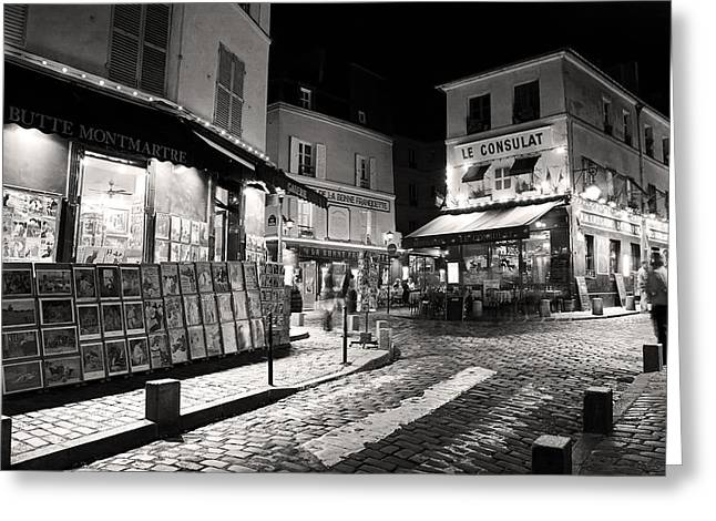 Midnight In Montmartre Paris Greeting Card by Pierre Leclerc Photography