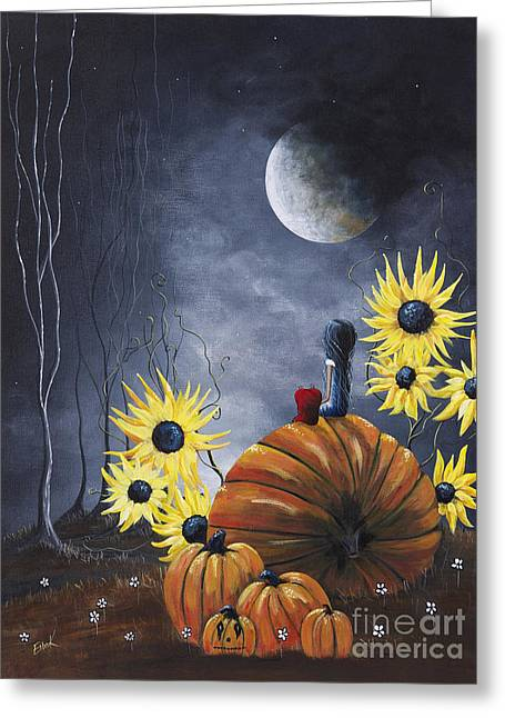 Orange Pumpkin Greeting Cards - Midnight In The Pumpkin Patch by Shawna Erback Greeting Card by Shawna Erback