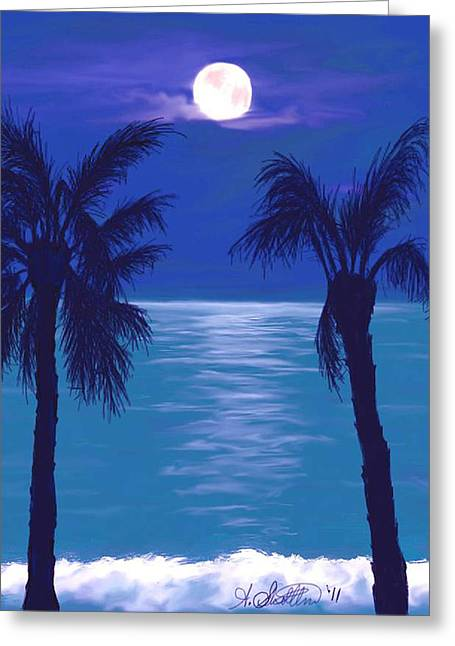 Beach At Night Digital Art Greeting Cards - Midnight in the Tropics Greeting Card by Amy Scholten