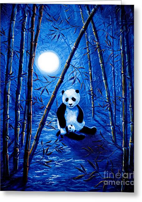 Zen Greeting Cards - Midnight Lullaby in a Bamboo Forest Greeting Card by Laura Iverson