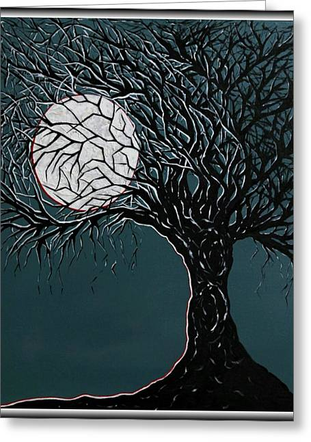 Bare Trees Mixed Media Greeting Cards - Midnight Greeting Card by Madison Frasier
