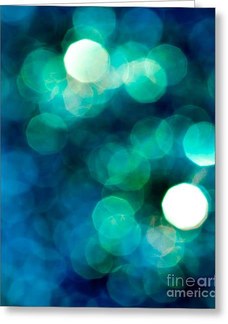 Turquoise Abstract Art Greeting Cards - Midnight Magic Greeting Card by Jan Bickerton