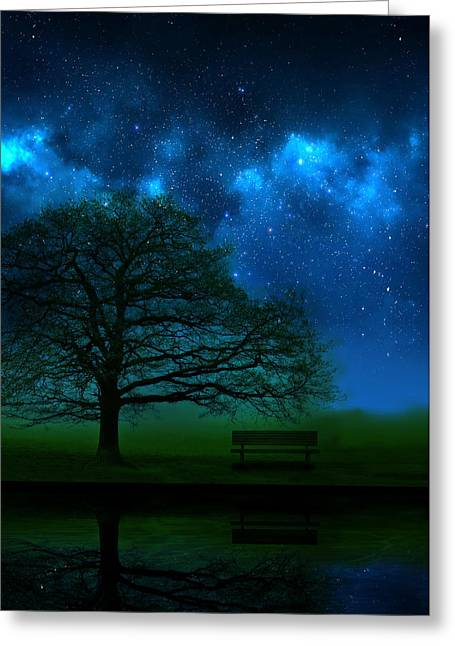 Park Benches Greeting Cards - Midnight Greeting Card by Mark Rogan