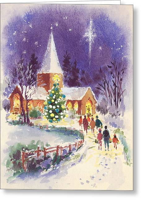 Gathering Greeting Cards - Midnight Mass Gouache Greeting Card by Stanley Cooke