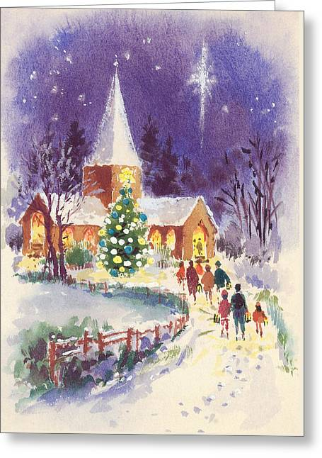 Midnight Mass Gouache Greeting Card by Stanley Cooke