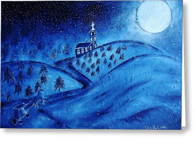 Moonlit Night Drawings Greeting Cards - Midnight Mass Greeting Card by Melinda Firestone-White
