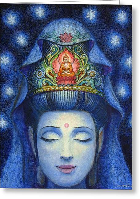 Sue Greeting Cards - Midnight Meditation Kuan Yin Greeting Card by Sue Halstenberg