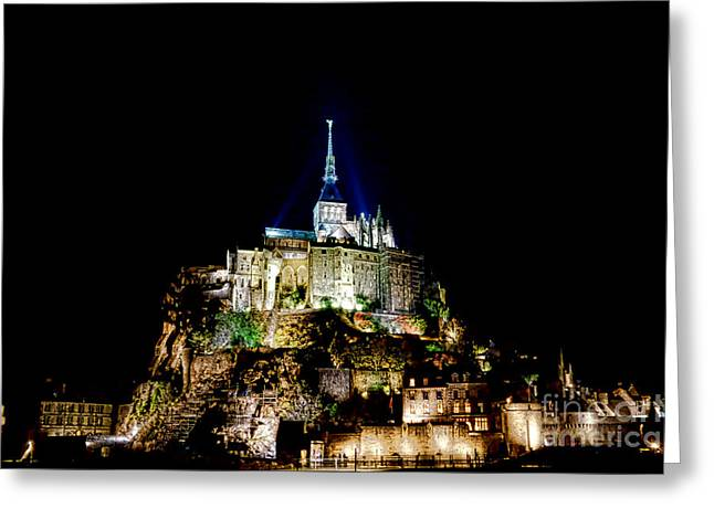 Highlighted Greeting Cards - Midnight Mont Saint Michel Greeting Card by Olivier Le Queinec
