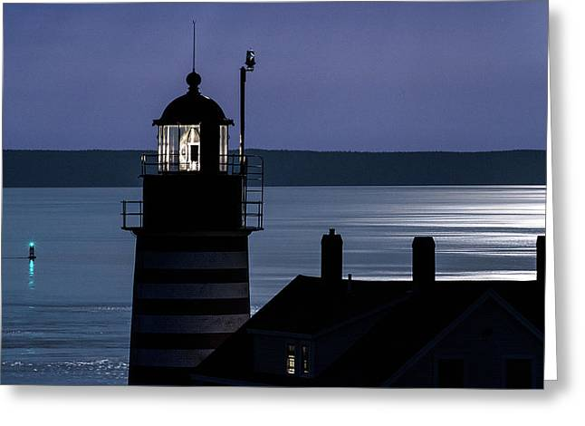 Midnight Moonlight On West Quoddy Head Lighthouse Greeting Card by Marty Saccone
