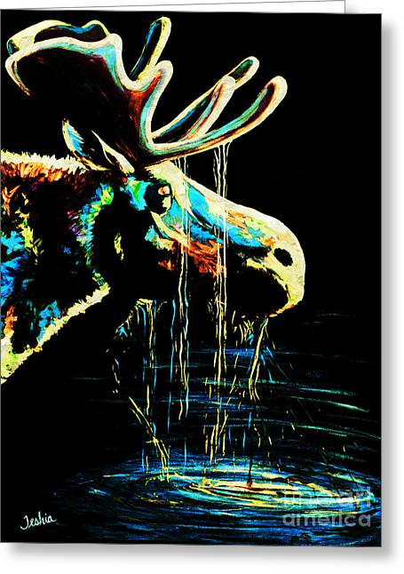 Moose Bull Greeting Cards - Midnight Moose Drool  Greeting Card by Teshia Art
