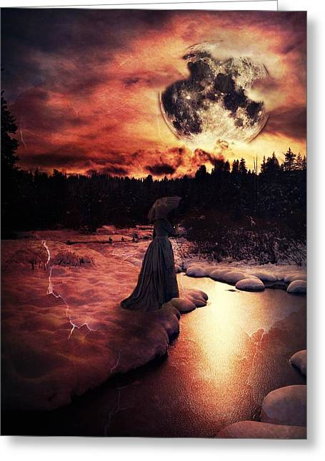 Bathroom Prints Mixed Media Greeting Cards - Midnight Mourning Greeting Card by Leah Moore