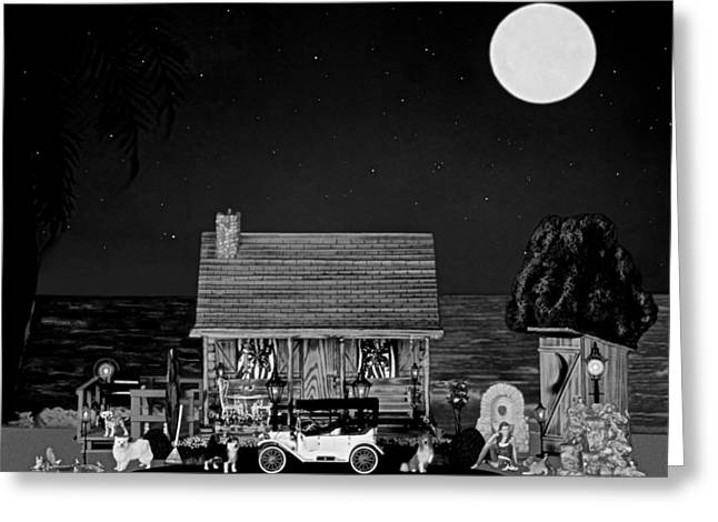Scenic Drive Greeting Cards - Midnight Near The Sea In Black And White Greeting Card by Leslie Crotty