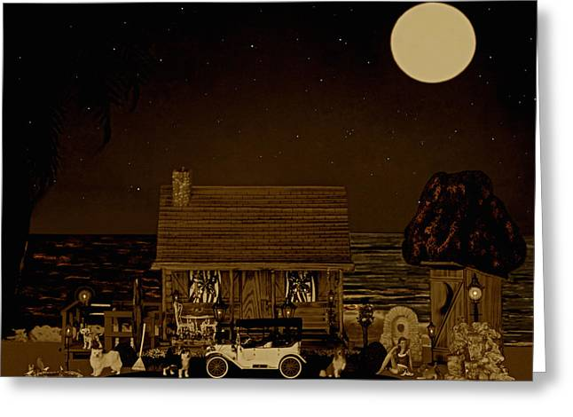Scenic Drive Greeting Cards - Midnight Near The Sea In Sepia Color Greeting Card by Leslie Crotty
