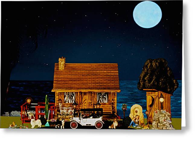 Scenic Drive Greeting Cards - Midnight Near The Sea In Color Greeting Card by Leslie Crotty