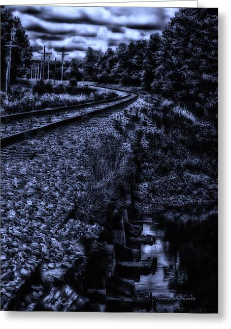 Calcined Greeting Cards - MidNight On A RailRoad Curve Greeting Card by Thomas Woolworth