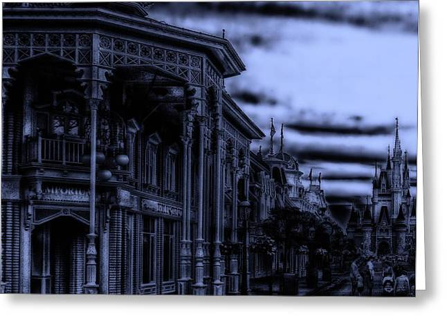 World Showcase Lagoon Greeting Cards - MidNight On Main Street Disney World Greeting Card by Thomas Woolworth