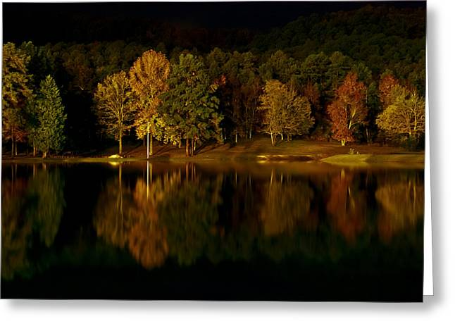 Fall Scenes Greeting Cards - Midnight on the Lake Greeting Card by Linda Unger