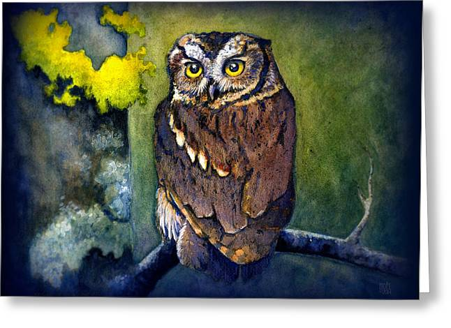 Catherine Mixed Media Greeting Cards - Midnight Owl Greeting Card by Catherine Noel