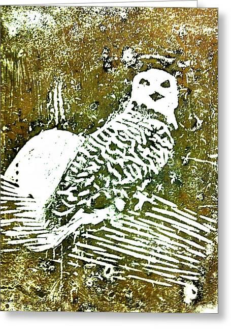 Linoleum Greeting Cards - Midnight Owl Greeting Card by Shabnam Nassir