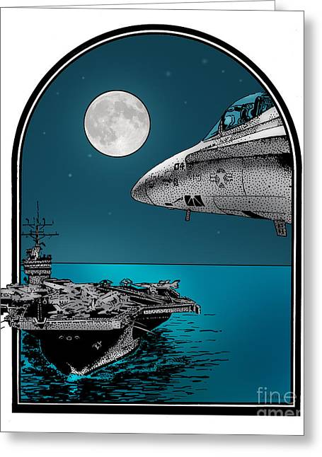 Cvn-69 Greeting Cards - Midnight Ride Greeting Card by Joseph Juvenal