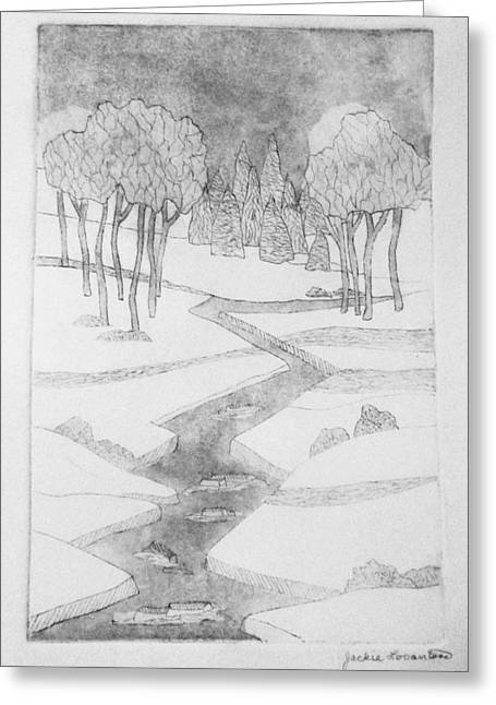 New England Snow Scene Drawings Greeting Cards - Midnight River Ice Greeting Card by Jackie Locantore