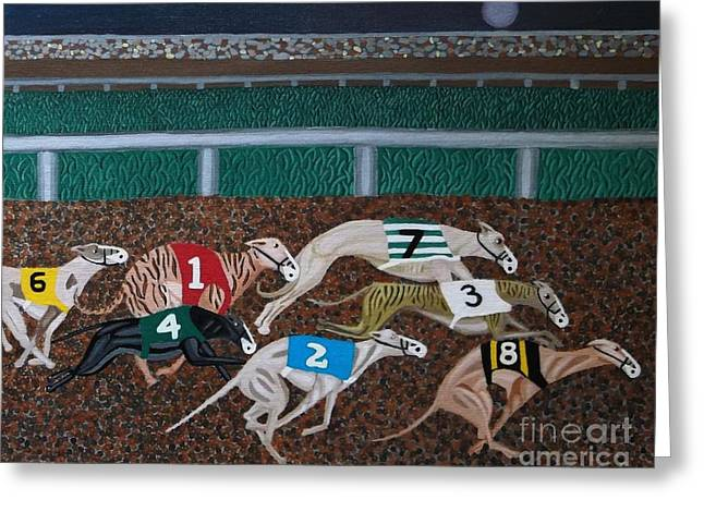 Dog Race Track Greeting Cards - Midnight Run Greeting Card by Anthony Morris