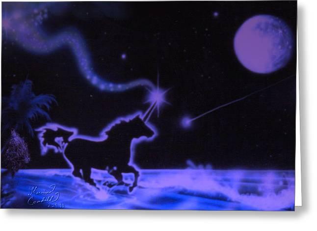 Sea Moon Full Moon Mixed Media Greeting Cards - Midnight Run Greeting Card by Kevin Caudill