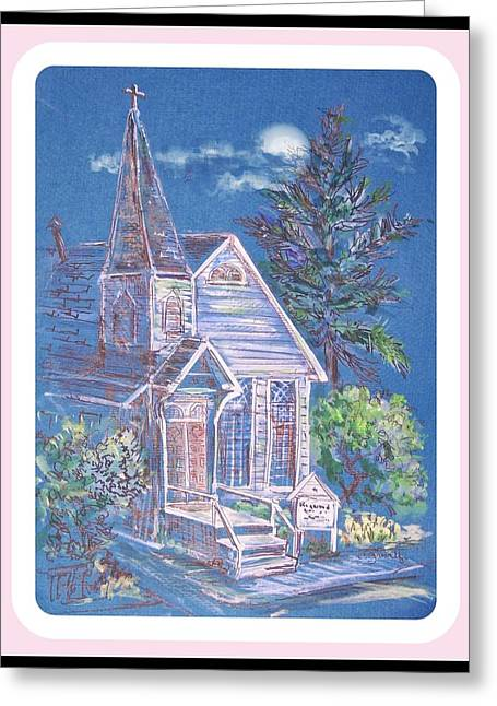 Country Church Mixed Media Greeting Cards - Midnight Sermon Greeting Card by Charles  Gresalfi