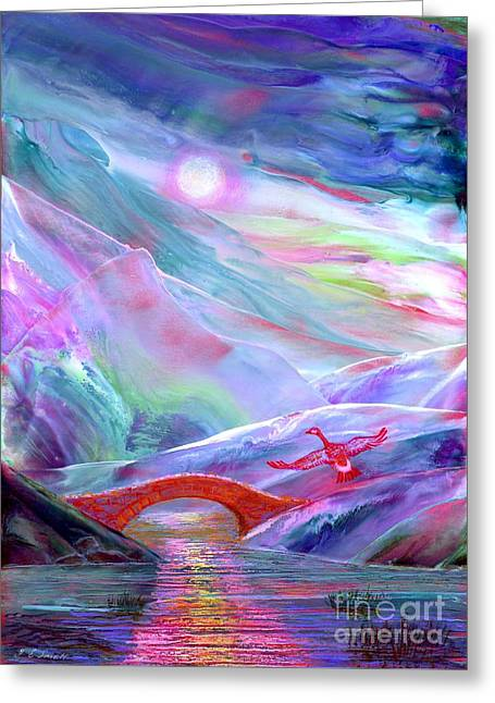 Xmas Paintings Greeting Cards - Midnight Silence Greeting Card by Jane Small