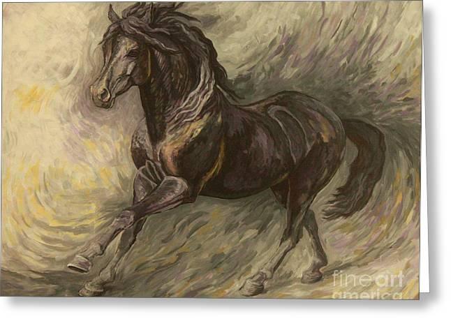 Black Horses Greeting Cards - Midnight Greeting Card by Silvana Gabudean