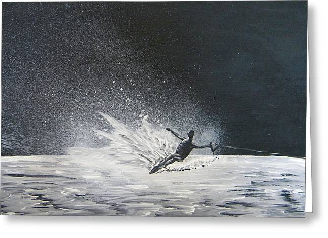 Skiing Action Paintings Greeting Cards - Midnight Ski Greeting Card by Eric Johansen