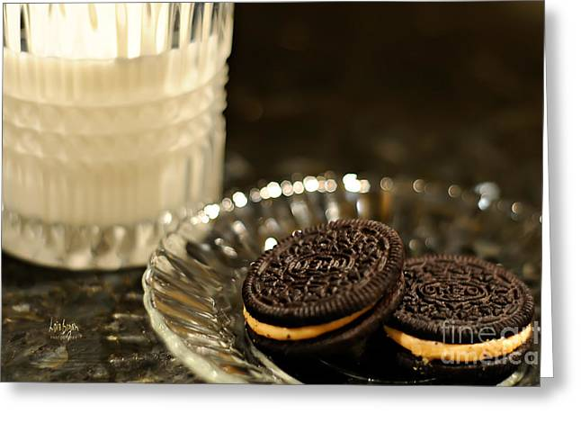 Oreo Cookie Greeting Cards - Midnight Snack Greeting Card by Lois Bryan