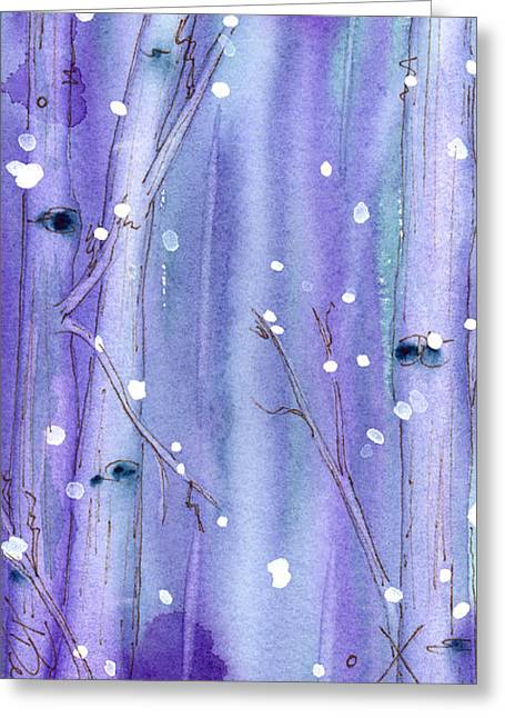 Snow Scene Landscape Greeting Cards - Midnight Snow In The Aspens Greeting Card by Dawn Derman