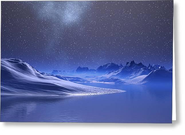 Winter Night Greeting Cards - Midnight Snow Greeting Card by Judi Suni Hall