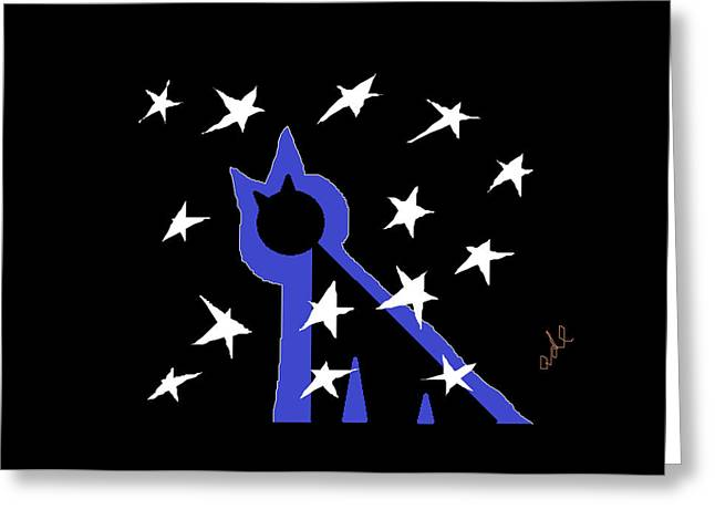 Cut-outs Drawings Greeting Cards - Midnight Starlight Greeting Card by Anita Dale Livaditis