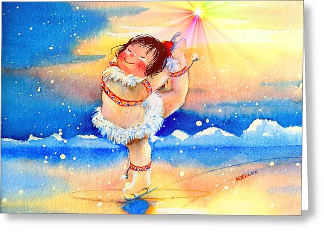 Midnight Sun Figure Skater Greeting Card by Hanne Lore Koehler
