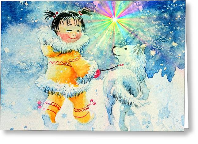 Huskies Greeting Cards - Midnight Sun Friends Greeting Card by Hanne Lore Koehler