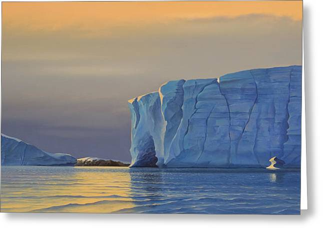 Photorealism Greeting Cards - Midnight Sun Icebergs at Sunset Greeting Card by Cliff Wassmann