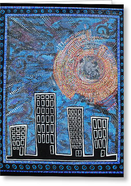 Web Of Life Paintings Greeting Cards - Midnight Sun Greeting Card by Josh Brown