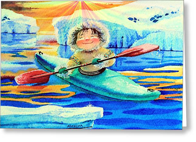 Kids Books Paintings Greeting Cards - Midnight Sun Kayaker Greeting Card by Hanne Lore Koehler