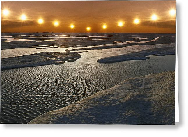 Hi-tech Greeting Cards - Midnight Sun Multiple Exposure Arctic Greeting Card by Composite Image