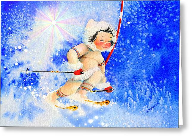 Ski Art Greeting Cards - Midnight Sun Ski Racer Greeting Card by Hanne Lore Koehler