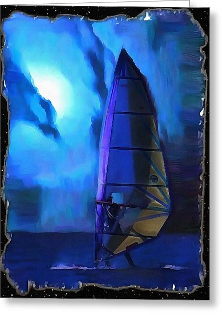 Surfing Photos Digital Art Greeting Cards - Midnight Surfboarder Greeting Card by Mario Carini