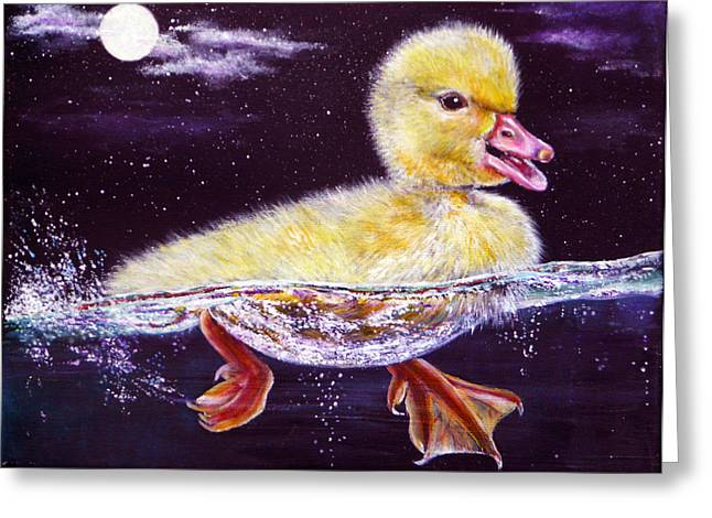 Kinkade Greeting Cards - Midnight Swim Greeting Card by Ann Marie Bone