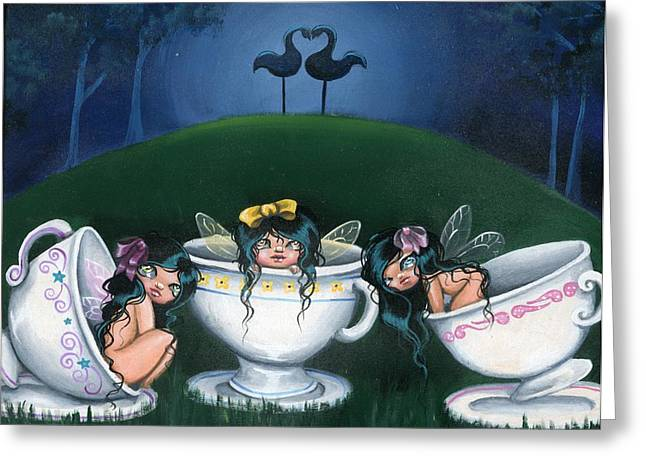 Tea Party Greeting Cards - Midnight Tea Party Greeting Card by Sour Taffy