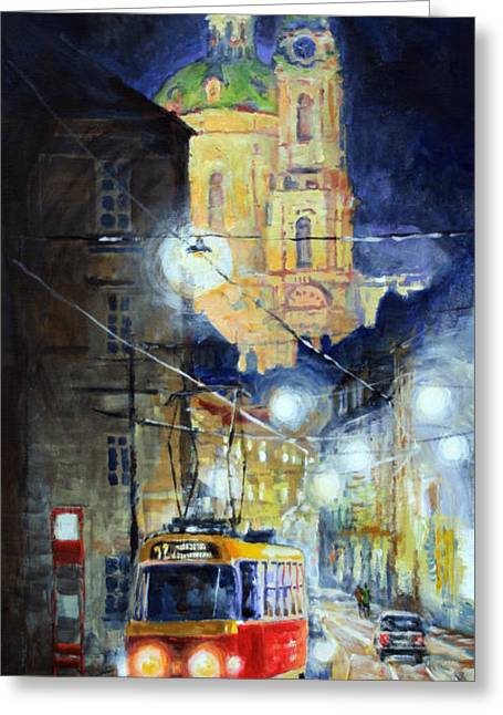Street Lights Greeting Cards - Midnight Tram  Prague  Karmelitska str Greeting Card by Yuriy Shevchuk