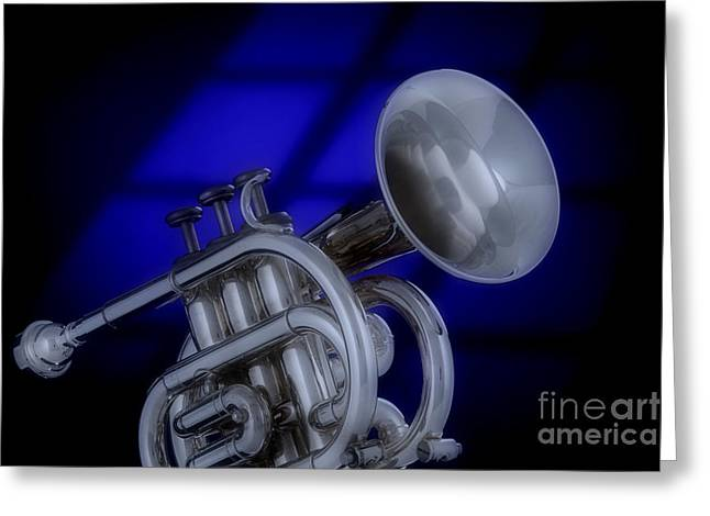 Matte Print Greeting Cards - Midnight Trumpet Greeting Card by M K  Miller
