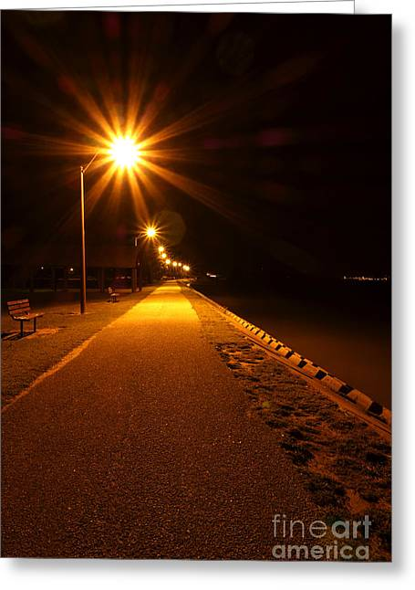 Night Lamp Greeting Cards - Midnight Walk Greeting Card by Olivier Le Queinec